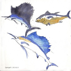 swordfish, marlin, tuna