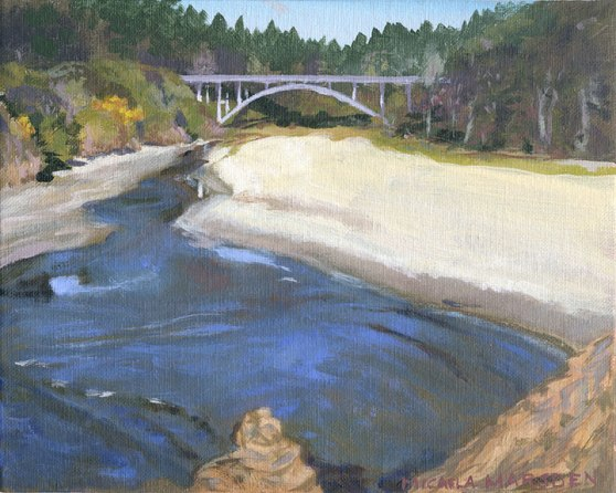 #426   Jughandle Bridge CA 10-154,  10 x 8,  acrylic