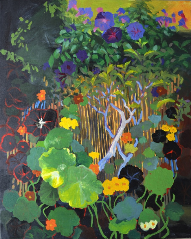 Nasturtiums and Morning Glories painting