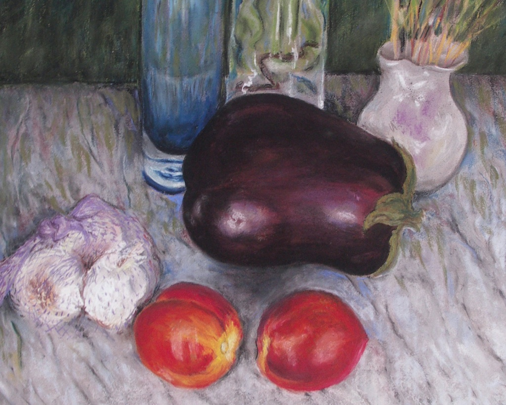 Eggplant, nectarines, garlic pastel painting.