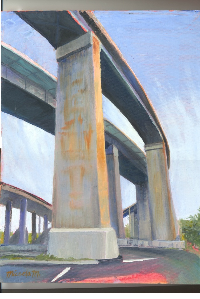 painting of freeway supports.