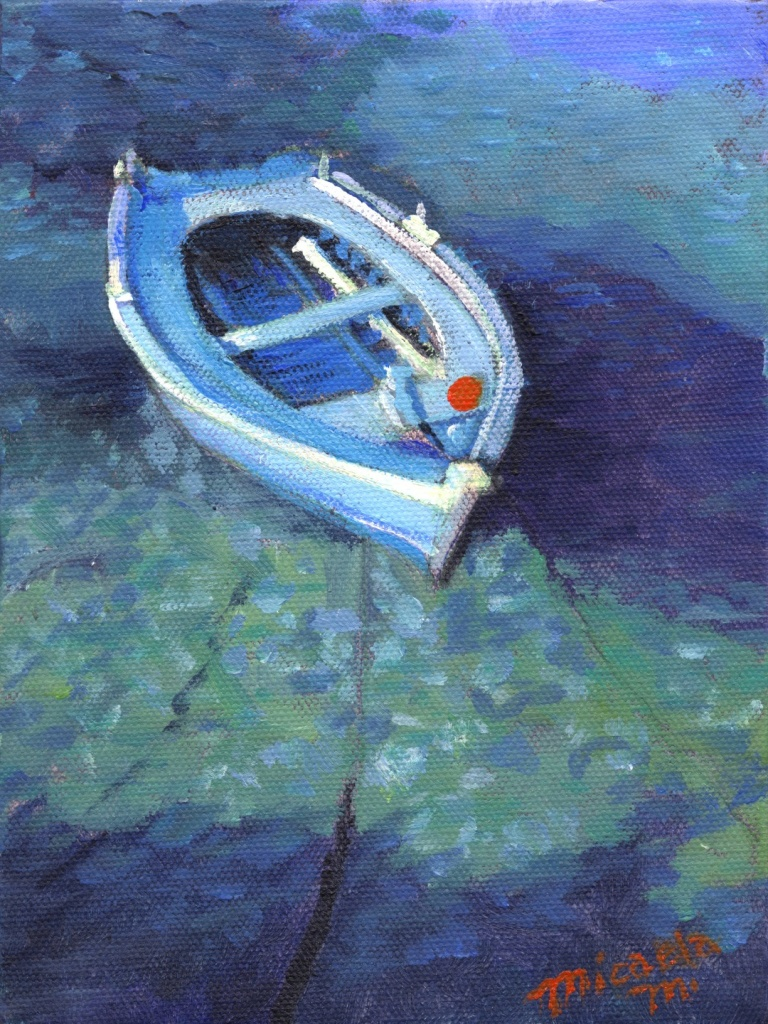 blue skiff