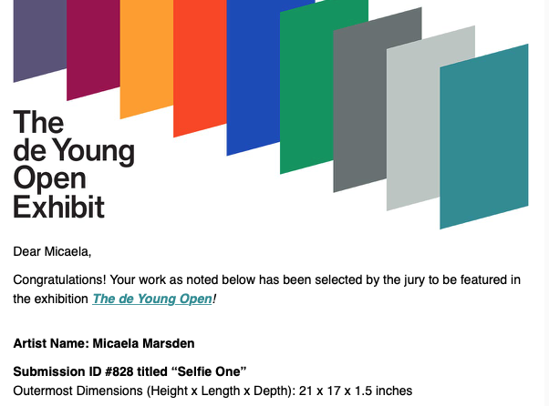 de Young Open acceptance notification.