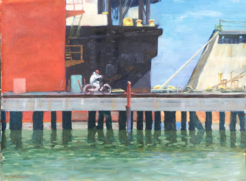 painting of Bay Ship shipyard.
