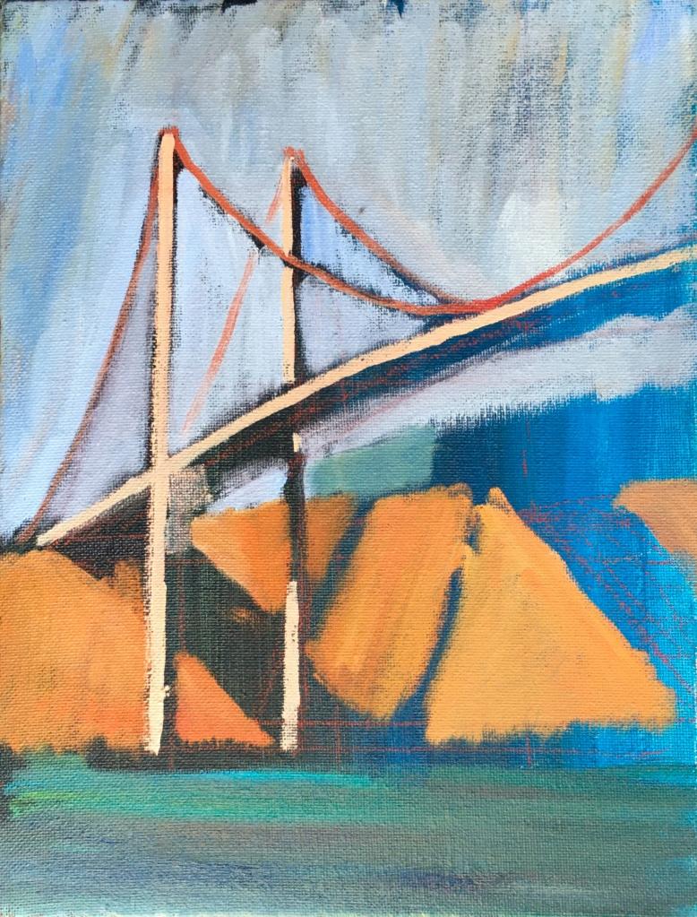 sketch of the Carquinez Bridge and shadows